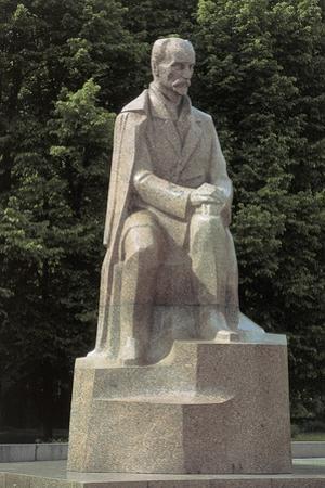 Close-Up of a Statue, Janis Rainis Statue, Riga, Latvia