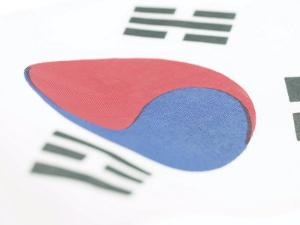 Close-Up of Blue and Red Yin-Yang Symbol on South Korean Flag