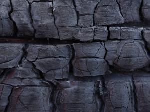 Close-Up of Burnt Wood Texture