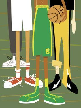 Close-Up of Children's Legs with Basketball