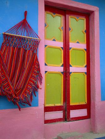 Close-up of Doorway and Hammock, Raquira, Boyaca Region, Columbia, South America by D Mace