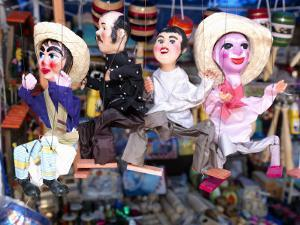 Close-Up of Marionettes for Sale at a Market Stall, Queretaro City, Queretaro State, Mexico