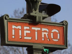 Close-Up of Outdoor Sign for the Metro in Paris, France