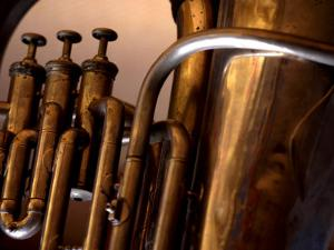 Close-Up of Shiny Brass Tubes of Tuba