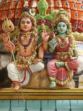 Close-Up of Shiva and Parvati Statues in Hindu Temple, France, Europe