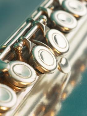 Close-Up of Silver Keys on Flute