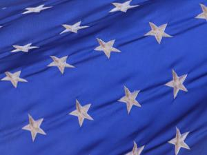 Close-Up of the Stars on the American Flag Flowing in the Wind in the Usa