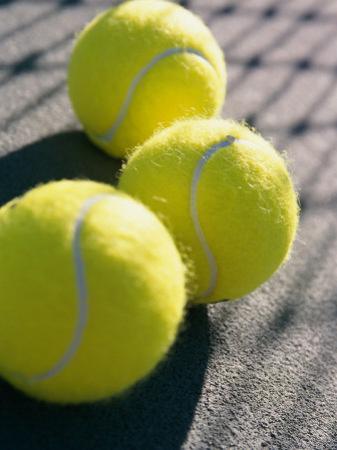 Close-up of Three Tennis Balls