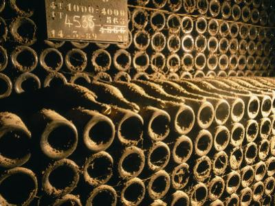 Close-up of Wine Bottles in a Cellar of Bollinger, Ay, Champagne, France