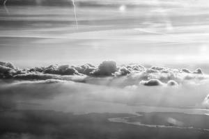 Cloud Formation from Out a Plane Window in Black and White