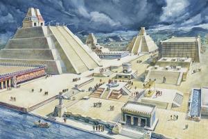 Clouds over Pyramids, Templo Mayor, Tenochtitlan, Mexico City, Mexico