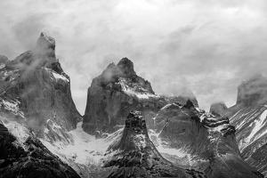 Clouds over snowcapped mountains, Torres del Paine National Park, Magallanes Region, Patagonia,...