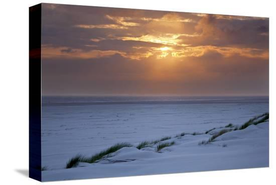 Cloudy atmosphere at the sea, Amrum, Schleswig-Holstein, Germany--Stretched Canvas Print