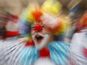 Clown Celebrates During a Colourful Historical Carnival Procession in Wasungen, Germany