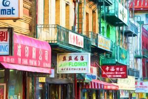 Clutter of Business Signs, Chinatown, San Francisco, California, USA