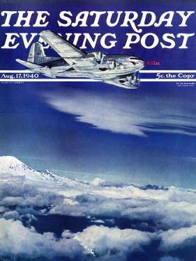 """""""Flight Above Clouds,"""" Saturday Evening Post Cover, August 17, 1940 by Clyde H. Sunderland"""