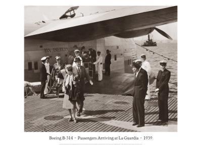 Boeing B-314, Passengers Arrive at La Gaurdia, 1939 by Clyde Sunderland
