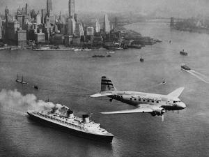 DC-3, SS Normandie, New York, 1938 by Clyde Sunderland