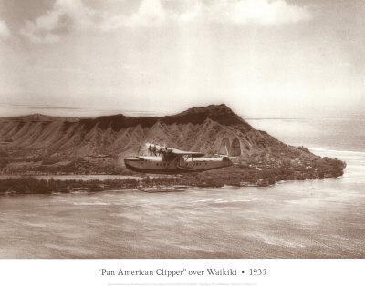Pan American Clipper over Waikiki, Hawaii, 1935