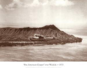 Pan American Clipper over Waikiki, Hawaii, 1935 by Clyde Sunderland
