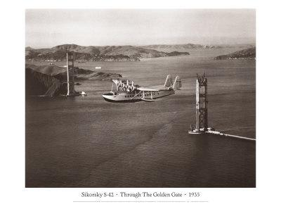 Sikorsky S-42 through the Golden Gate under Construction, San Francisco, 1935