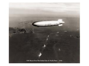 USS Macon over the Golden Gate and Pacific Fleet, 1934 by Clyde Sunderland
