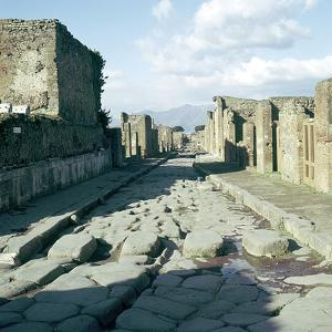 A Street in the Roman Town of Pompeii, Italy by CM Dixon