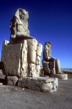 Closeup of the Colossi of Memnon, Luxor West Bank, Egypt, C1400 Bc by CM Dixon