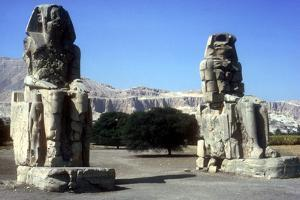 Frontal View of the Colossi of Memnon, Luxor West Bank, Egypt, C1400 Bc by CM Dixon
