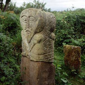 Pagan Celtic Stone Janus-Head Figure, Boa Island, Co.Fermanagh, Ireland by CM Dixon