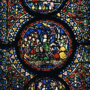 Stained Glass Depiction of Christs Entry to Jerusalem, 12th Century by CM Dixon
