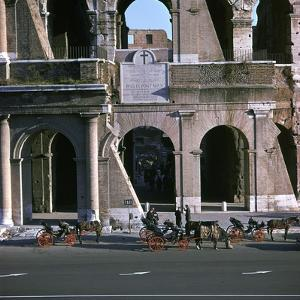 View of the Colosseum with Cabs in Front by CM Dixon