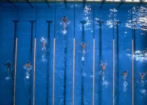 US Athlete Mark Spitz Leads in the 200 Meter Butterfly at the Summer Olympics by Co Rentmeester