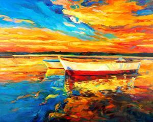 Coastal Boats Sunset Painting