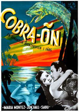 Cobra Woman (aka Cobra-On), Sabu, Maria Montez, Jon Hall, (Swedish Poster Art), 1944