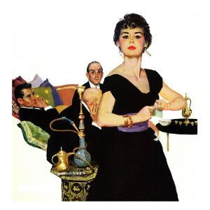 """Auctioned Bride - Saturday Evening Post """"Men at the Top"""", October 16, 1954 pg.34 by Coby Whitmore"""