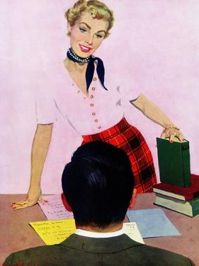"""Coed's Delight - Saturday Evening Post """"Men at the Top"""", October 21, 1950 pg.27 by Coby Whitmore"""