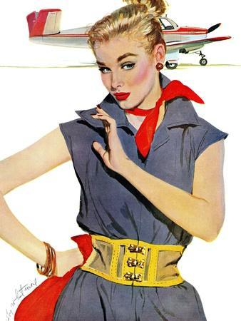 """The Girl Who Stole Airplanes  - Saturday Evening Post """"Leading Ladies"""", December 6, 1952 pg.24"""