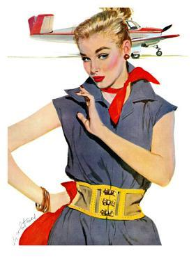 """The Girl Who Stole Airplanes  - Saturday Evening Post """"Leading Ladies"""", December 6, 1952 pg.24 by Coby Whitmore"""