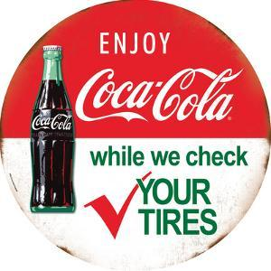 Coca-Cola Tires with Bottle Tin Sign