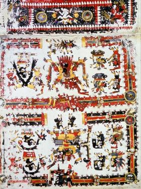 Codex Borgianus Showing Confronting Deities, Mixtec, Pre-Columbian Mexico, 12th-16th Century