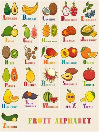Alphabet & Fruit Vector Set