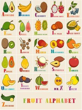 Alphabet & Fruit Vector Set by coffeee_in