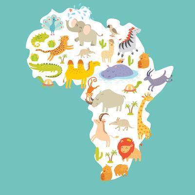 Animals World Map Africa. Colorful Cartoon Vector Illustration