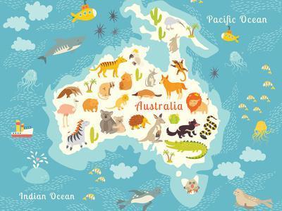 Animals World Map Australia. Vector Illustration