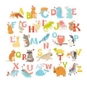 Cute Vector Zoo Alphabet. Funny Cartoon Animals by coffeee_in