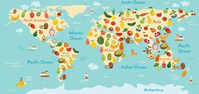 Fruit World Map. and Vegetables by coffeee_in