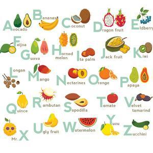 Fruits Abc Vector Set. Exotic Tropical Fruits Vegetable Alphabet. by coffeee_in