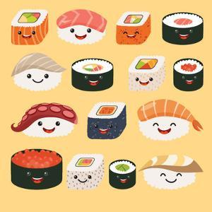 Funny Sushi Characters. Funny Sushi with Cute Faces. Sushi Roll and Sashimi Set. Happy Sushi Charac by coffeee_in