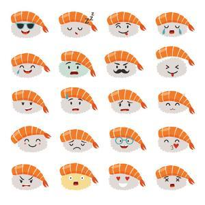 Sashimi Emoji Vector Set. Emoji Sushi with Faces Icons. Sushi Roll Funny Stickers. Food Cartoon Sty by coffeee_in